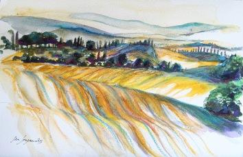 Aquarellserie Landschaft Toscana 2015